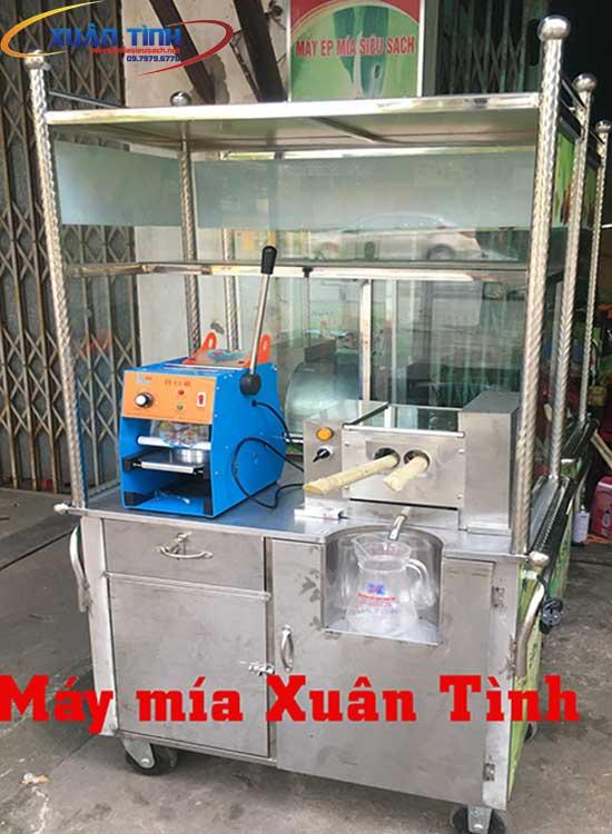 Xe Nước Mía Có Tủ Kính Ép 2 Cây Mía XT2-800W động Cơ Đài Loan