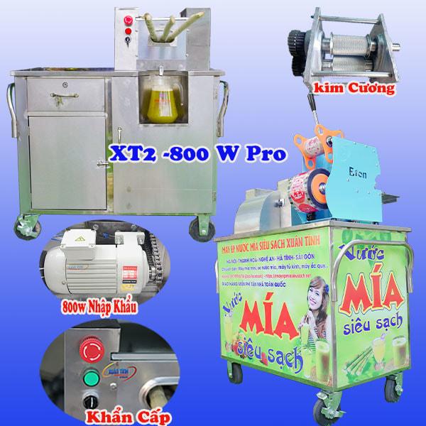 Xe Nước Mía Liền Bàn 2 - 3 Cây XT2-800W Pro 3 Lô Kim Cương inox 304 12 Bạc Đạn Đũa