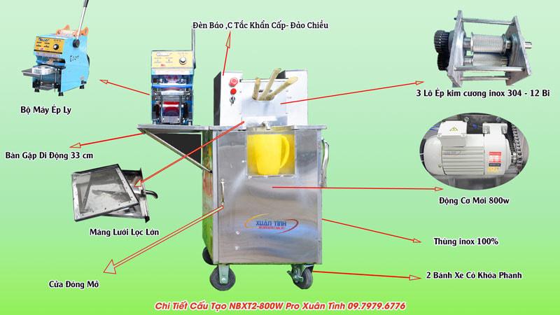 Combo xe bàn ngắn mini kim cương và máy ép ly
