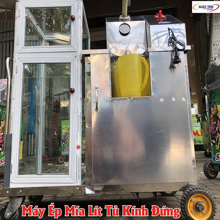 Máy Ép Mía Lít Tủ Kính Đứng Mô Tơ Lớn 1.5KW 3 Quả Lô Inox Lớn
